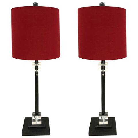 Royal Designs Set of 2 Lamps and Shades with Square Crystal Accented Base, Oil Rub Bronze Finish with Red Lampshade