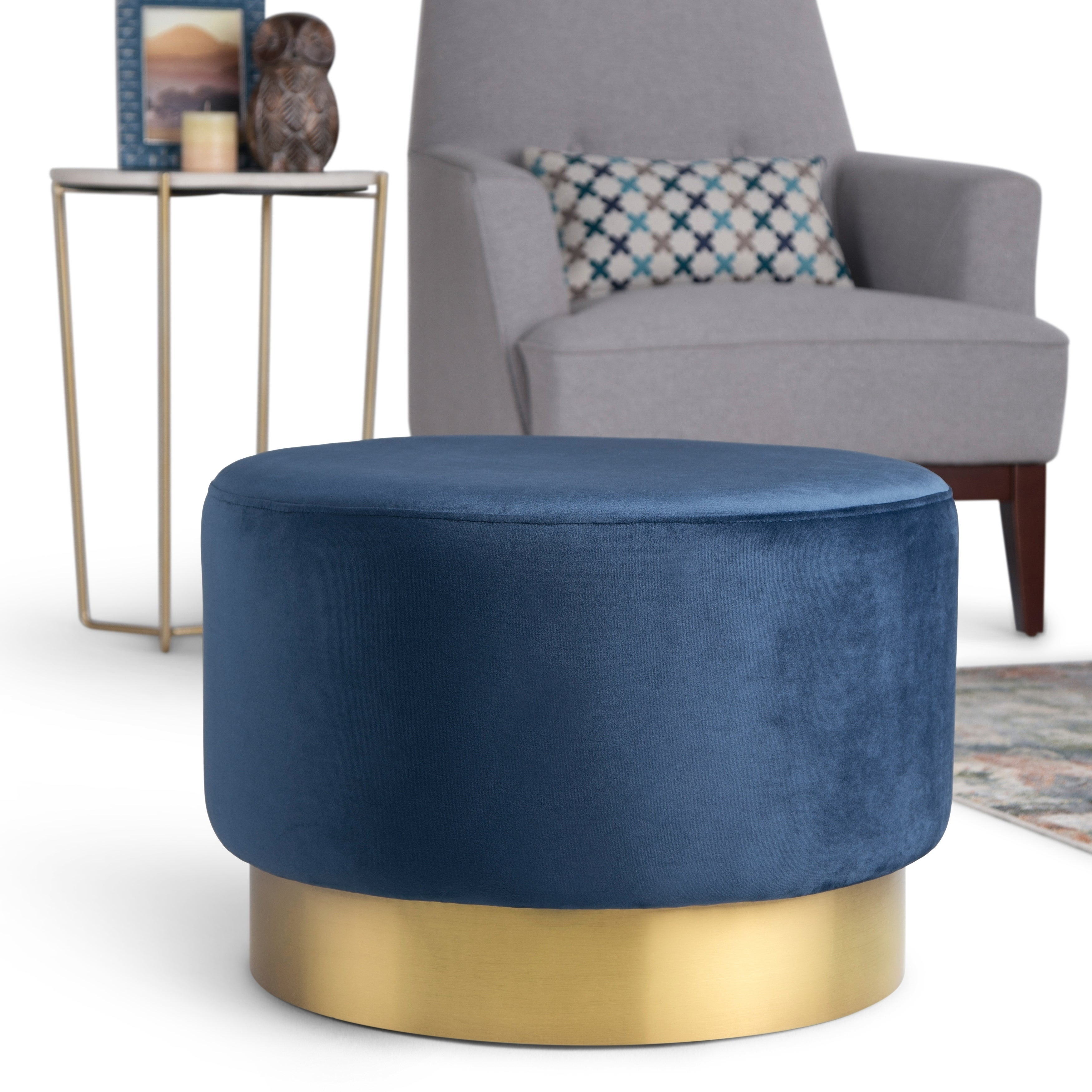 Silver Orchid Sussin Large Round Ottoman Footstool On Sale Overstock 26056626