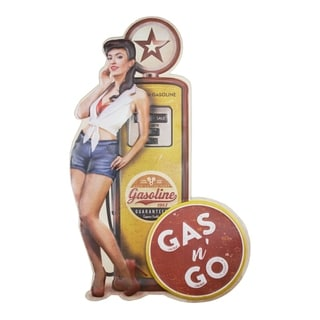 American Art Decor Gas n Go Pinup Embossed Metal Wall Decor