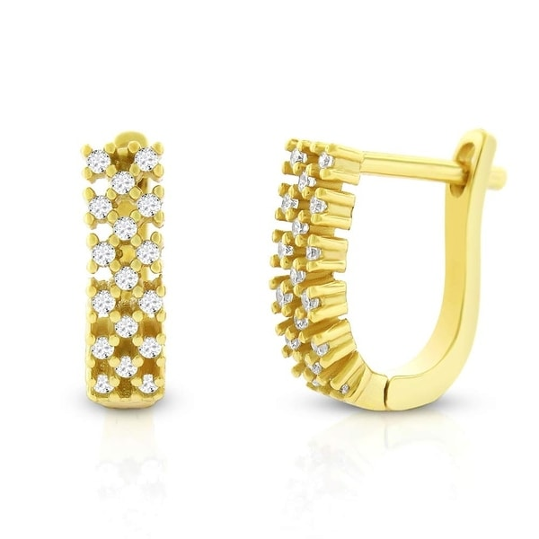 98f952f2b ... Cubic Zirconia Cz Huggie Earrings Yellow Gold 925 Sterling Silver Womens  Checkered Stripe Pattern Micro Pave