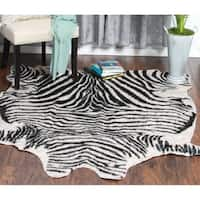 Porch & Den Hennepin Beige/ Black Zebra Pattern Soft Faux Cow Hide Area Rug - 5' x 6'6""