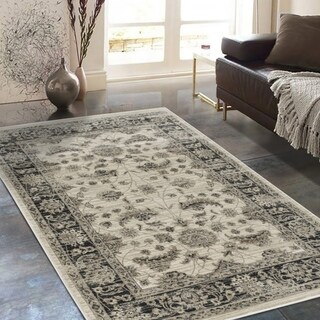 Allstar Rugs Distressed Cream and Beige Rectangular Accent Area Rug with Black Persian Vine Design - 7'6 x 9'8