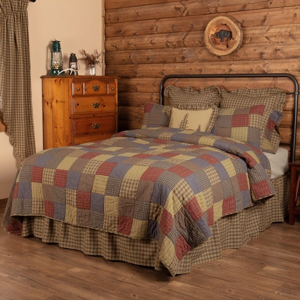 Green Rustic Bedding Ridgeline Quilt Cotton Patchwork
