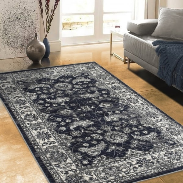"""Allstar Rugs Distressed Midnight Blue and Grey Rectangular Accent Area Rug with Ivory Persian Vine Design - 4' 11"""" x 7' 0"""""""