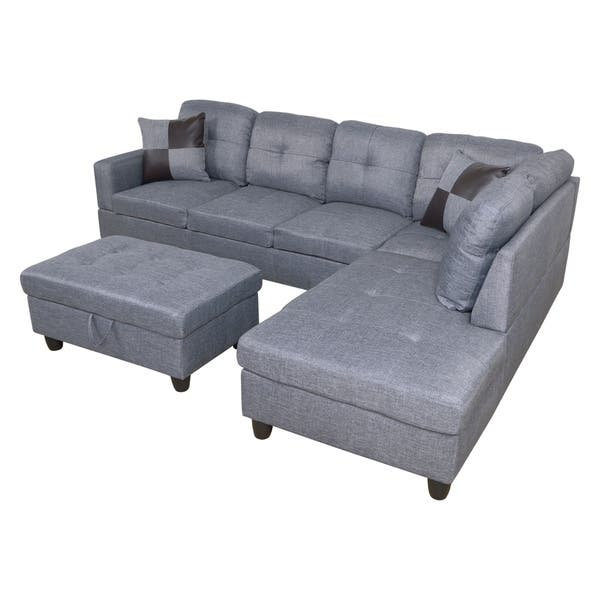 Shop AYCP Furniture L Shape Sectional Sofa with Storage Ottoman ...