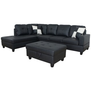 AYCP Furniture L Shape Sectional Sofa with Storage Ottoman