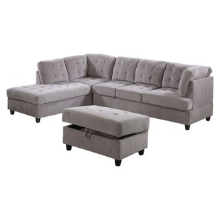 AYCP Furniture Corduroy Sectional Sofa with Storage Ottoman
