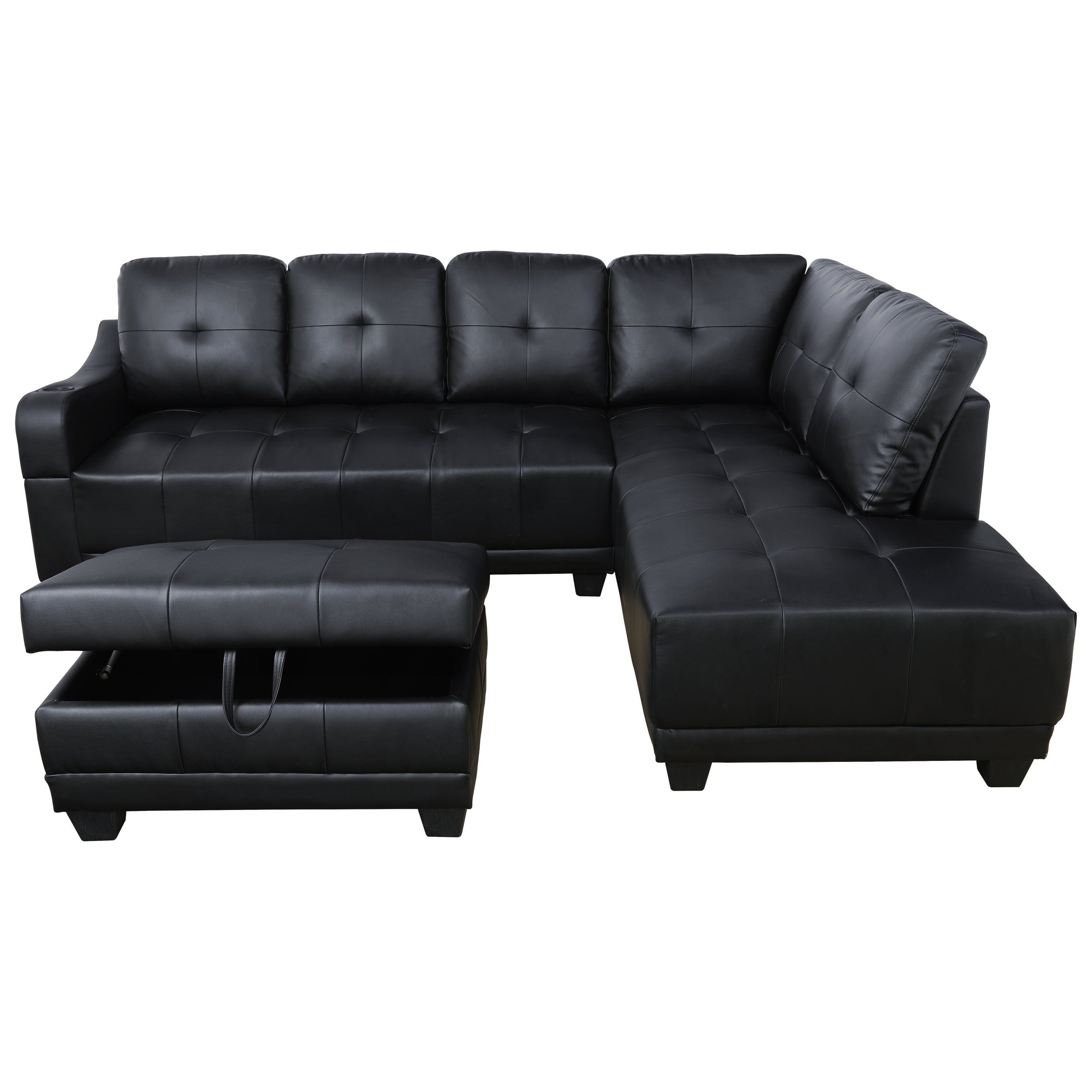 AYCP Furniture Faux Leather Sectional Sofa with Storage Ottoman and Cup  Holder on the Arm