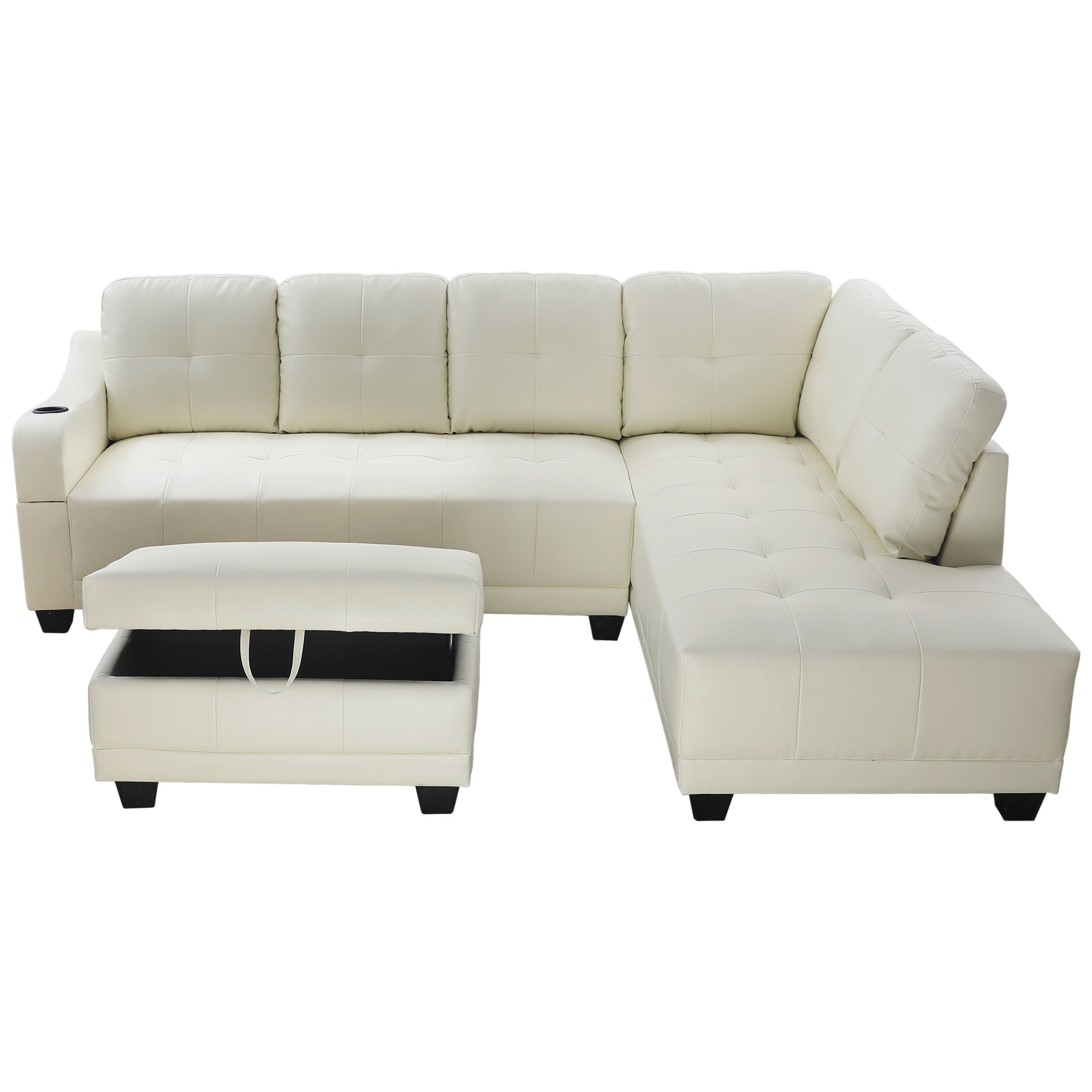 Details about AYCP Furniture Faux Leather Sectional Sofa with Storage