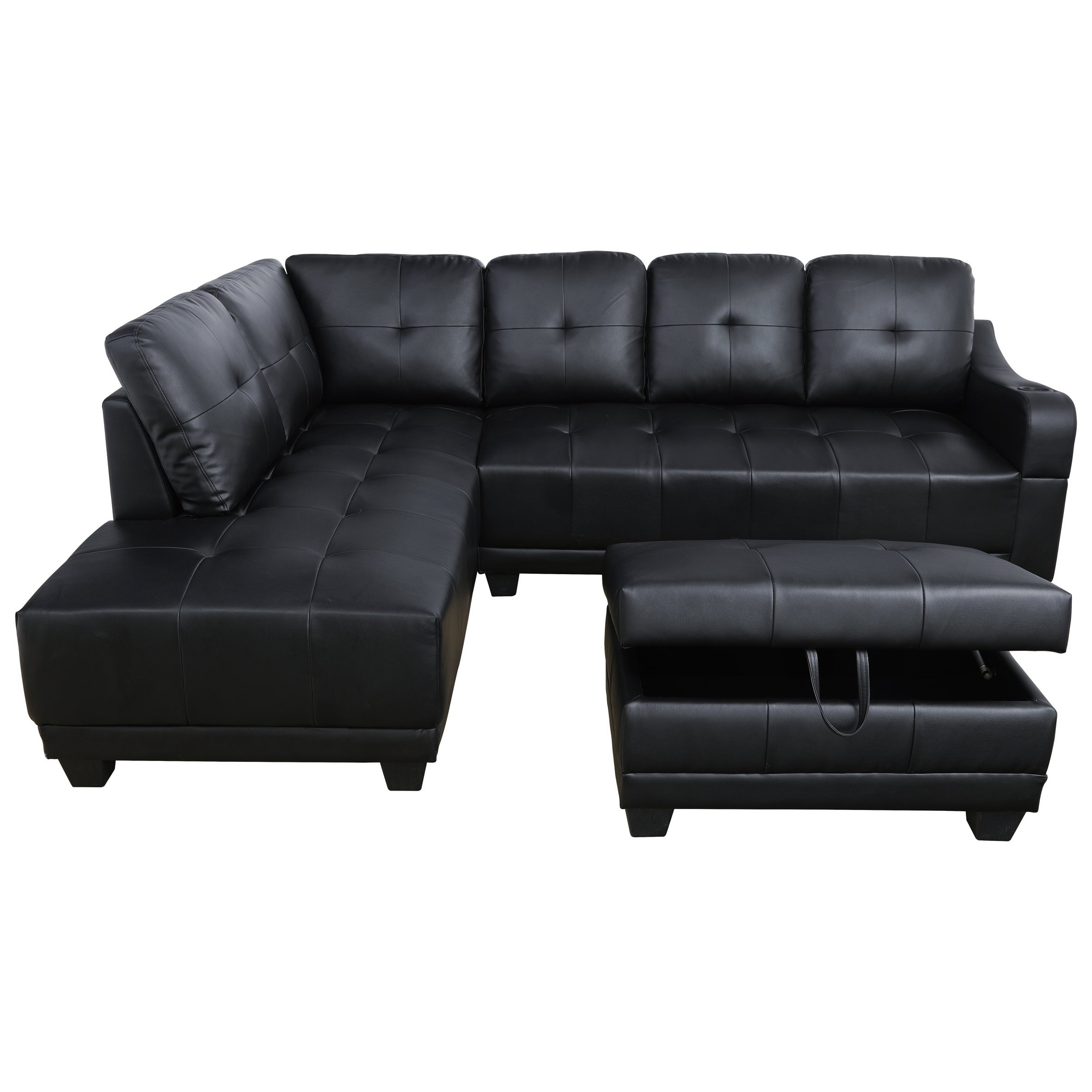 AYCP Furniture Faux Leather Sectional Sofa with Storage Ottoman and ...