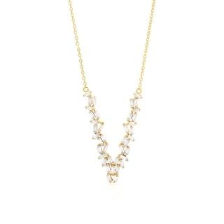 V Shape Baguette Sterling Silver Gold Rhodium Necklace