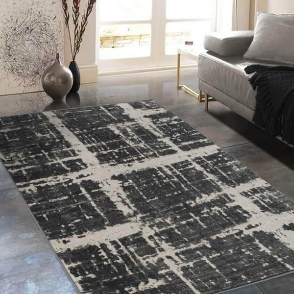 05a17220773 Allstar Rugs Distressed Charcoal Grey and Black Rectangular Accent Area Rug  with Ivory Abstract Design -