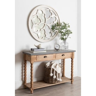 """Kate and Laurel Holland Overlayed Round Wall Mirror - White - 35.5"""" diameter"""