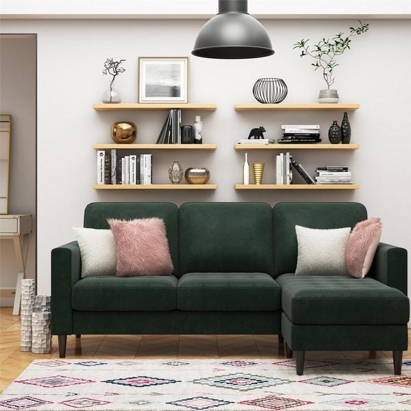 CosmoLiving by Cosmopolitan Strummer Velvet Reversible Sectional Sofa. Opens flyout.