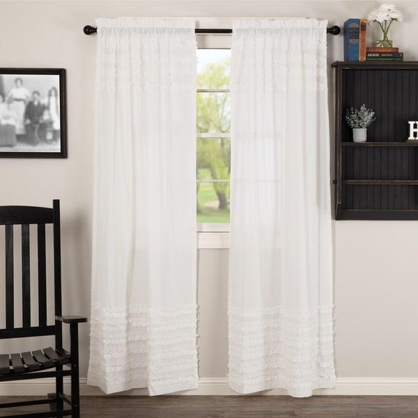 Shop White Farmhouse Curtains VHC White Ruffled Sheer