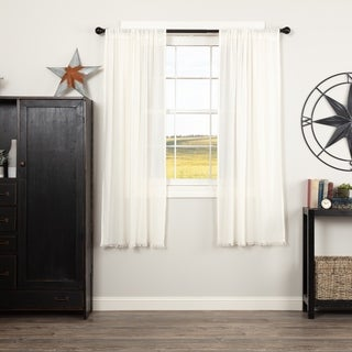 Farmhouse Curtains VHC Tobacco Cloth Panel Pair Rod Pocket Cotton Solid Color Sheer - Short Panel 63x36