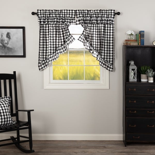 Swag Farmhouse Country Curtains Black Khaki Check Gingham Prairie VHC Brands