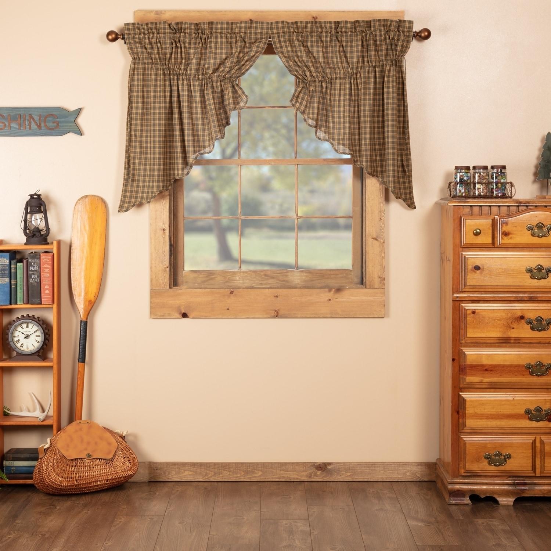 Details about Green Rustic Kitchen Curtains VHC Cedar Ridge Prairie Swag  Cedar Green, Natural,