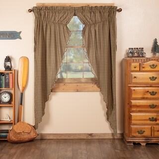 Green Rustic Curtains Ridgeline Prairie Panel Pair Rod Pocket Cotton Plaid