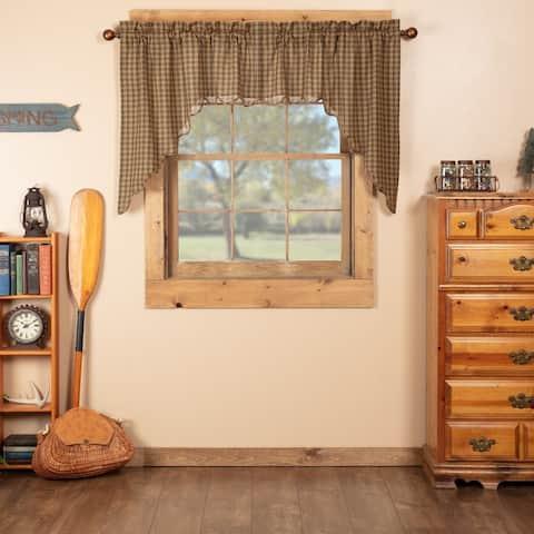 Green Rustic Kitchen Curtains VHC Cedar Ridge Swag Pair Rod Pocket Cotton Plaid - Swag 36x36x16