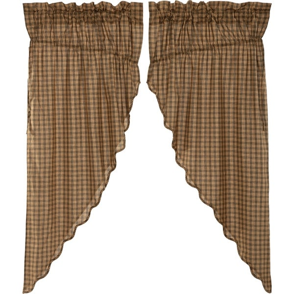 country primitive cabin Tan Black Check plaid Scalloped fabric 2 PANELS curtain