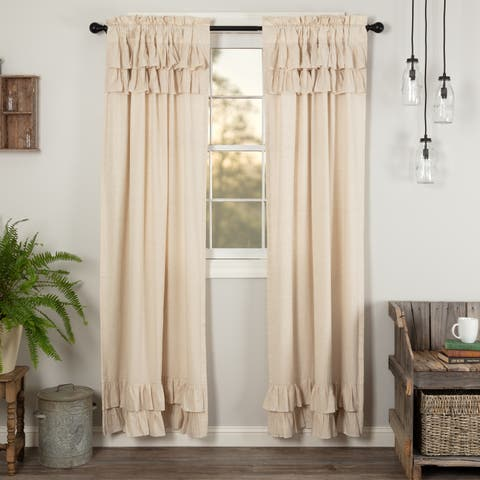 Farmhouse Curtains VHC Simple Life Flax Panel Pair Rod Pocket Cotton Linen Blend Solid Color Flax - Panel 84x40
