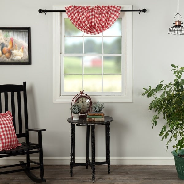 VHC Brands Farmhouse Kitchen Curtains Annie Rod Pocket Cotton Buffalo Check Balloon Valance Black 15x60