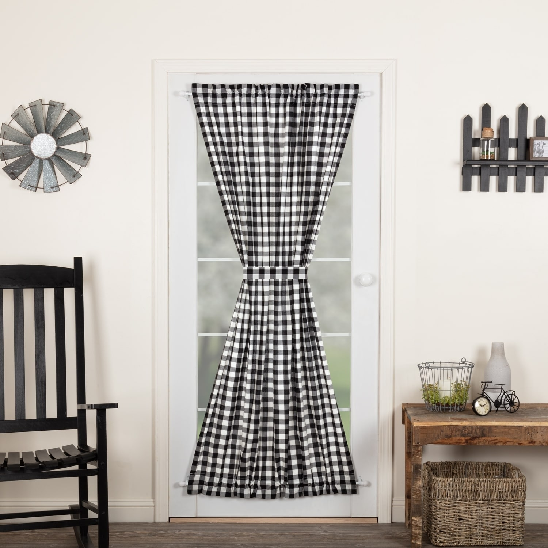 84 L Gray White Farmhouse Curtains Cotton Lined Tie Backs Annie Buffalo Check Curtains Drapes Valances Home Garden