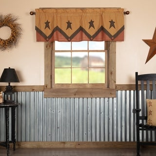 Tan Primitive Kitchen Curtains VHC Stratton Valance Rod Pocket Cotton Star Appliqued