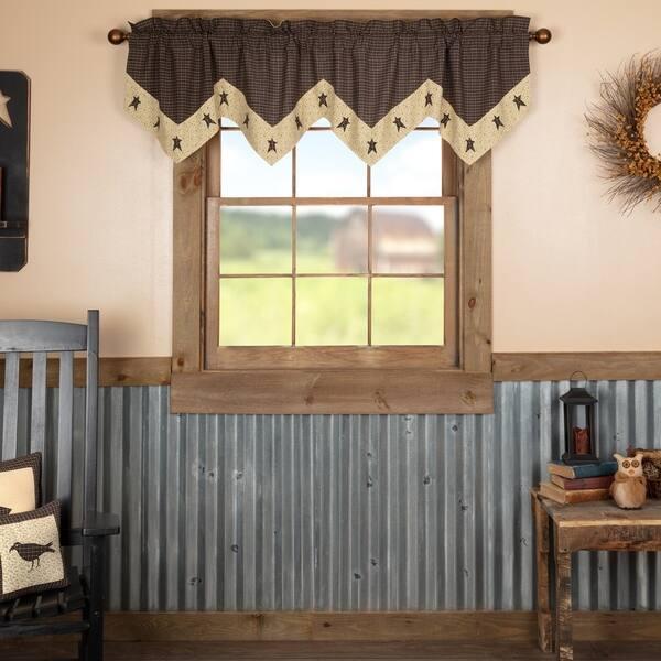 Shop Black Primitive Kitchen Curtains VHC Kettle Grove Star ...