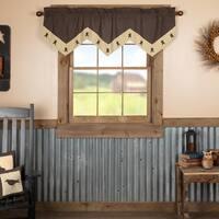 Black Primitive Kitchen Curtains Prim Grove Star Valance Rod Pocket Cotton Appliqued