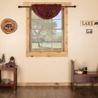 Red Rustic Kitchen Curtains Shasta Cabin Balloon Valance Rod Pocket Cotton Buffalo Check - S