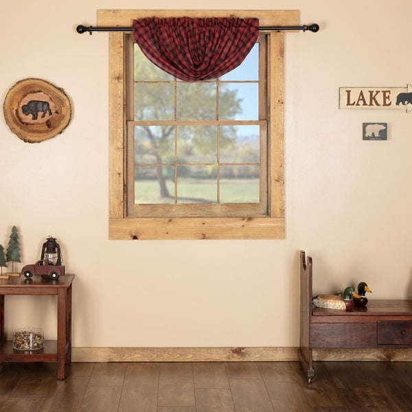 Red Rustic Kitchen Curtains VHC Cumberland Balloon Valance Rod Pocket  Cotton Buffalo Check - Balloon Valance 60x15