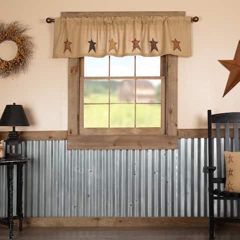 Tan Primitive Kitchen Curtains VHC Stratton Stars Valance Rod Pocket Cotton Star Appliqued Cotton Burlap - Valance 16x72