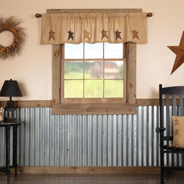 Shop Tan Primitive Kitchen Curtains Sutton Stars Valance
