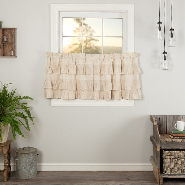 Charmant Farmhouse Kitchen Curtains VHC Simple Life Flax Tier Pair Rod Pocket Cotton  Linen Blend Solid Color