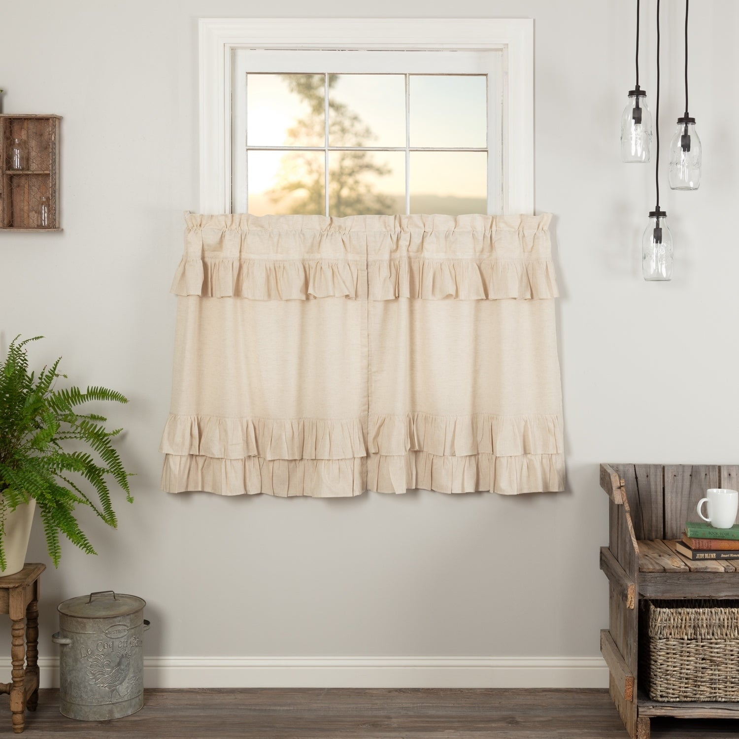 """Simple Life Flax SOLID NATURAL SCALLOPED 36/"""" TIER SET Country Farmhouse"""