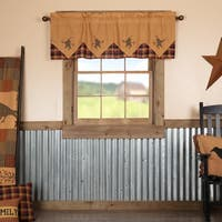 Yellow Primitive Kitchen Curtains Settlement Star and Pip Valance Rod Pocket Cotton Star Appliqued