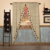 Tan Country Curtains Country Star Prairie Panel Pair Rod Pocket Cotton Star Appliqued Textured