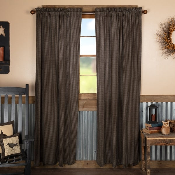Shop Black Primitive Curtains Prim Grove Plaid Panel Pair