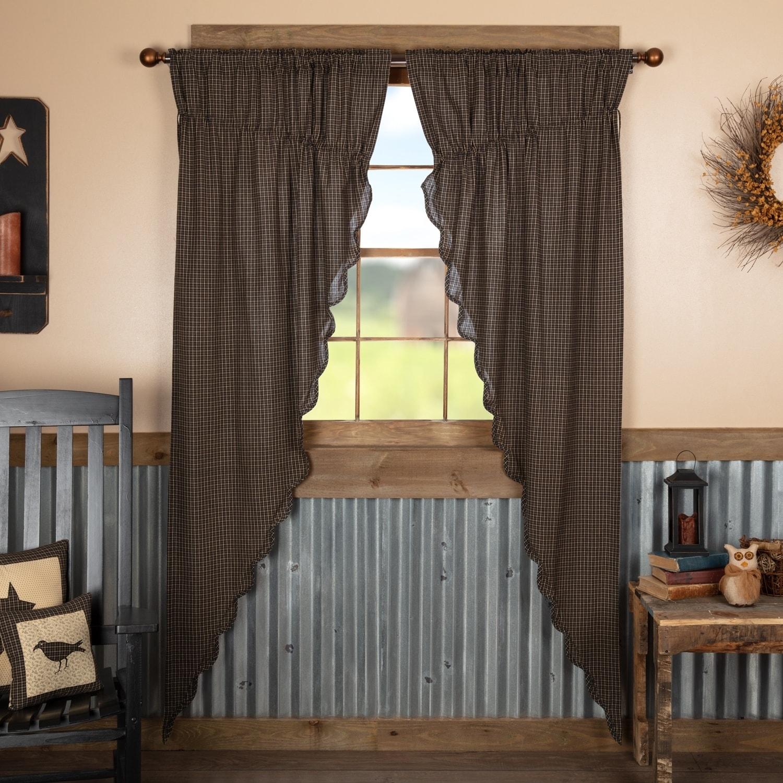Black Primitive Curtains Vhc Kettle Grove Plaid Prairie Panel Pair Rod Pocket Cotton Prairie Panel 84x36