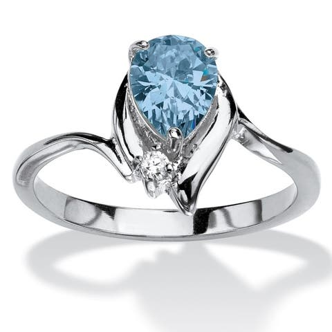 Silver Tone Simulated Birthstone and Round White Crystal Ring