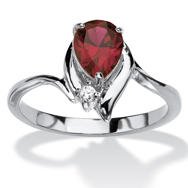 Silver Tone Simulated Birthstone and Round White Crystal Ring. Opens flyout.