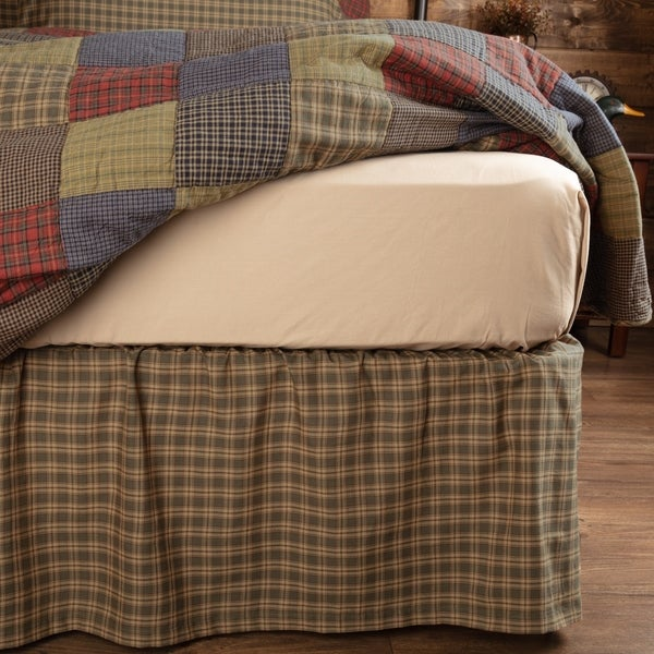 Green Rustic Bedding Ridgeline Bed Skirt Cotton Plaid Gathered