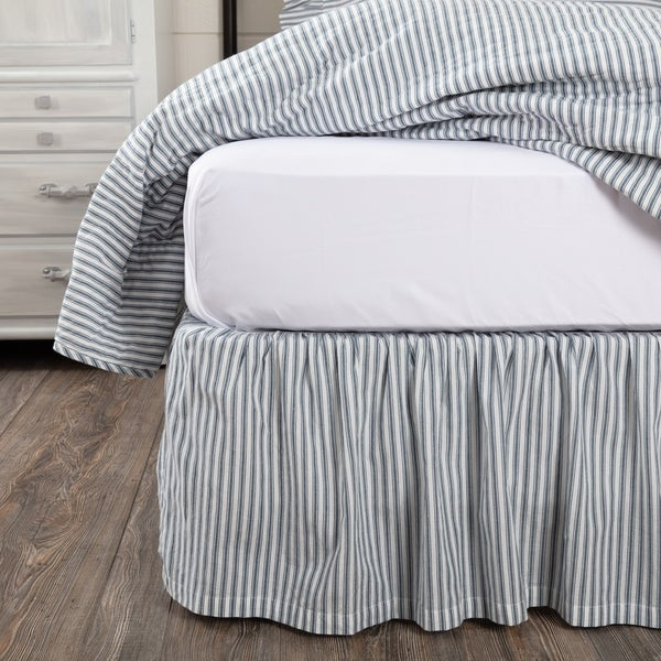 35fe2d86a5fe Farmhouse Bedding Miller Farm Ticking Stripe Bed Skirt Cotton Striped  Gathered