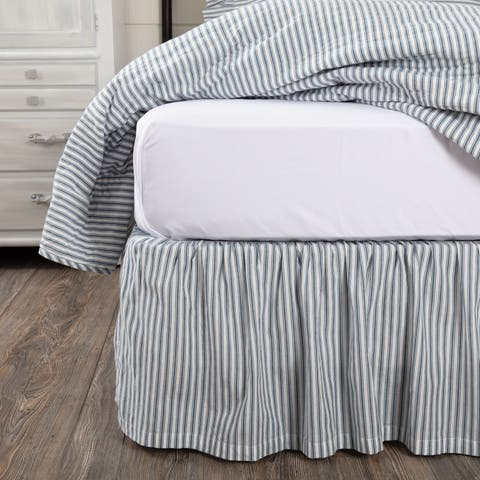 Farmhouse Bedding VHC Sawyer Mill Ticking Stripe Bed Skirt Cotton Striped Gathered