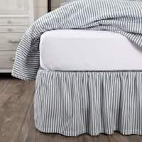 Farmhouse Bedding Miller Farm Ticking Stripe Bed Skirt Cotton Striped Gathered