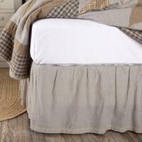 Blue Farmhouse Bedding VHC Dakota Star Farmhouse Blue Ticking Stripe Bed Skirt Cotton Striped Gathered