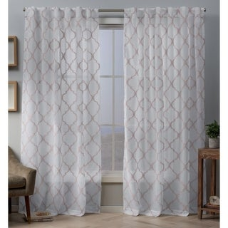 Copper Grove Botevgrad Embellished Sheer Top Curtain Panel Pair with Hidden Tab