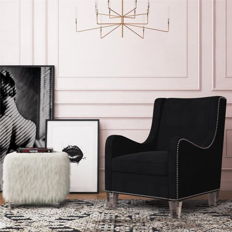 CosmoLiving by Cosmopolitan Nixon Acrylic Leg Velvet Accent Chair with Nail Heads